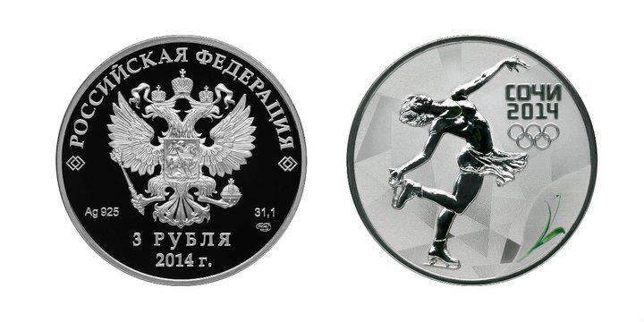 Серия монет зимние виды спорта - фигуристка